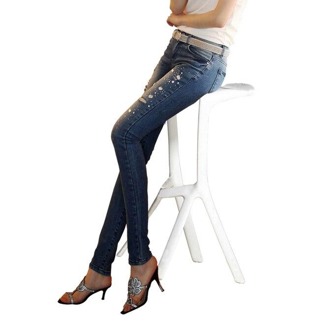European Grand Prix new female hole sexy Slim fit thin pencil pants fashion skinny jeans women Diamond denim pants women jeans