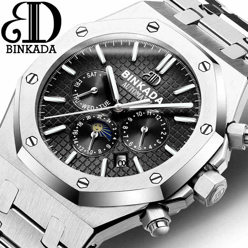 купить BINKADA 2016 Luxury Top Brand Sport Watch Mens Automatic Moon Phase Mechanical Wristwatches Fashion Stainless Steel Relogio Men дешево