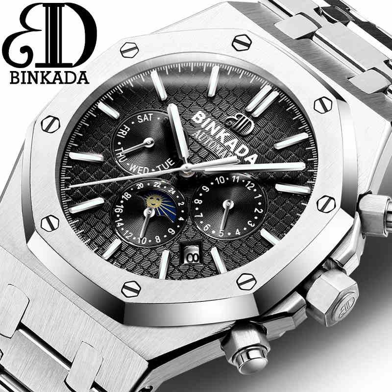 Binkada 2016 top de luxo da marca sport watch mens fase da lua automático mecânica relógios de pulso de aço inoxidável moda relogio homens