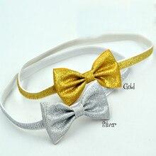 30pcs/lot  Glitter Bow Headband Gold Silver Headbands Baby Girl Hair Accessories