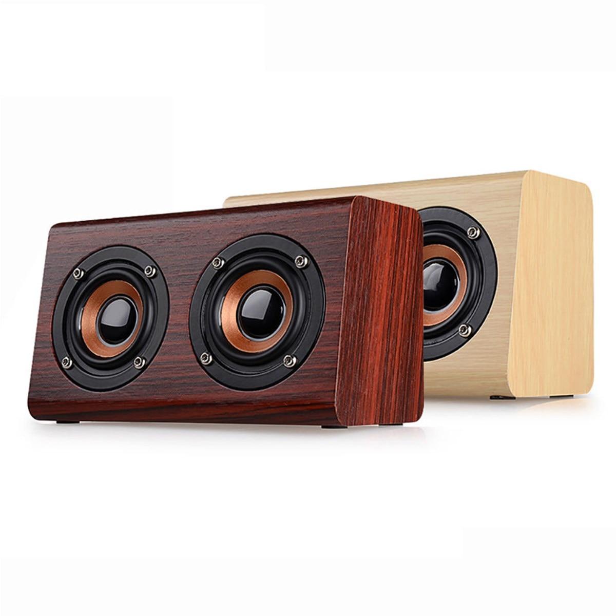W7 Portable Wireless Bluetooth Speaker 1500mAh Subwoofer 3.5mm Retro Wood Dual Loudspeaker USB Charging Speaker
