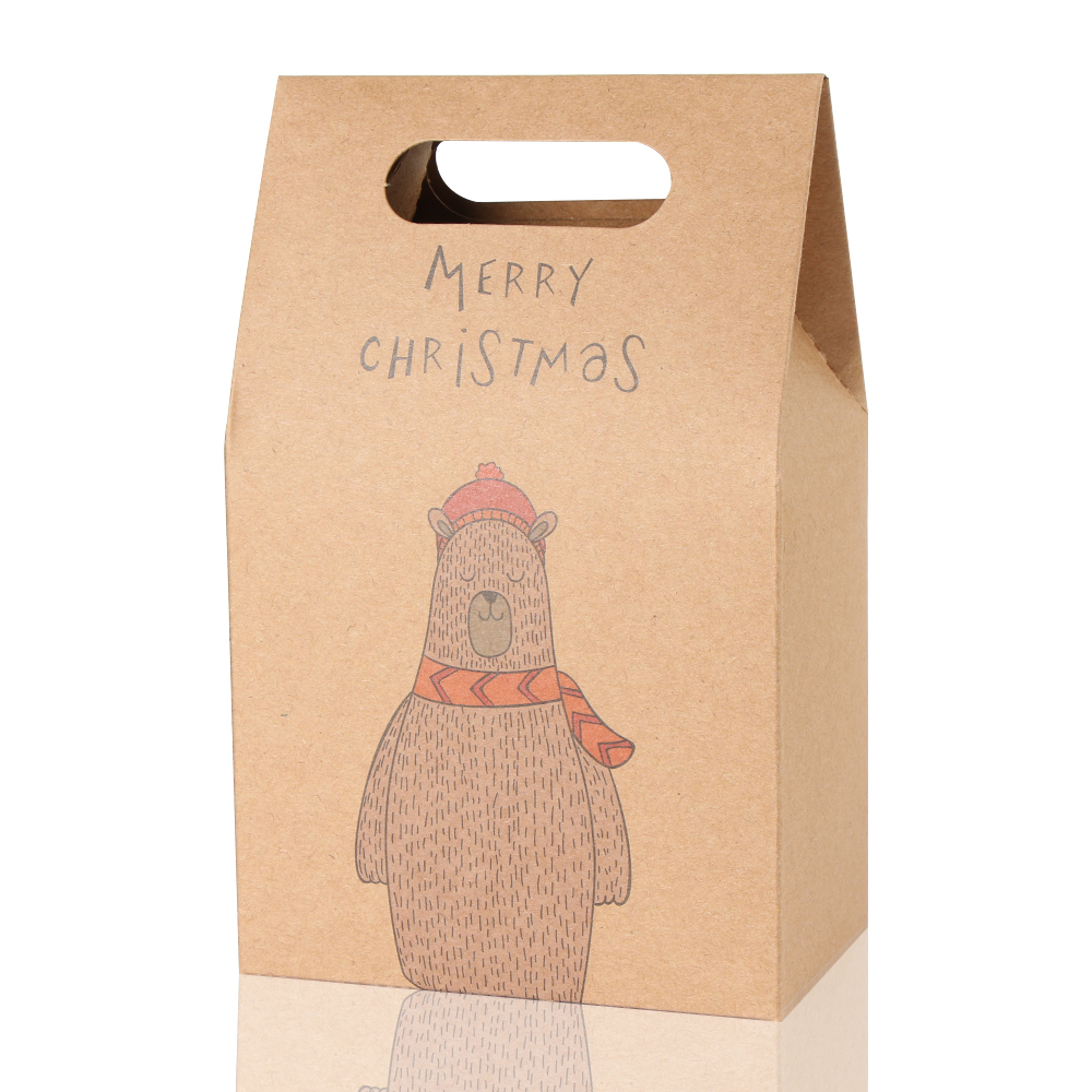 1Pcs Kraft Paper Xmas Party Cookies Candy Present Gift Bag Luxury Wedding Bag Christmas Candy Box Christmas Party Accessories 5
