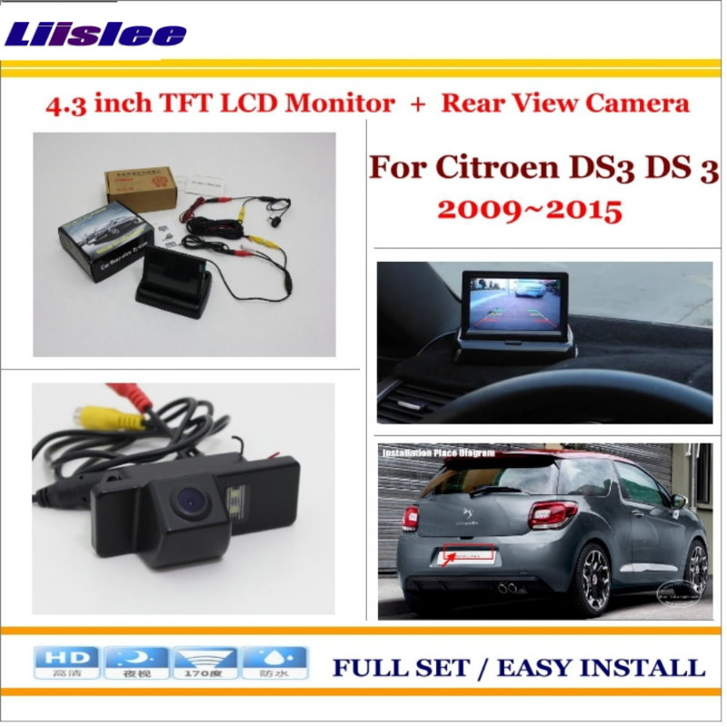 Liislee For Citroen DS3 DS 3 2009~2015 Auto Back UP Reverse Camera + 4.3 Color LCD Monitor = 2 in 1 Rearview Parking System