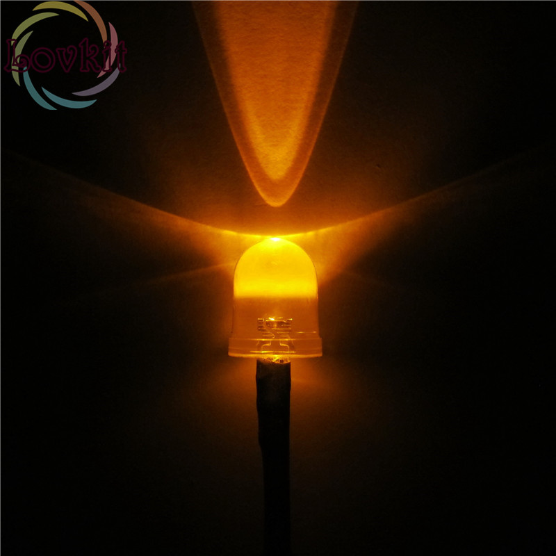 20pcs 10MM 12v Pre-Wired Resistor Orange Leds Round Top 12V DC 20cm Emitting Diode Led Lamp Light For Car DIY HOT SALE Retail