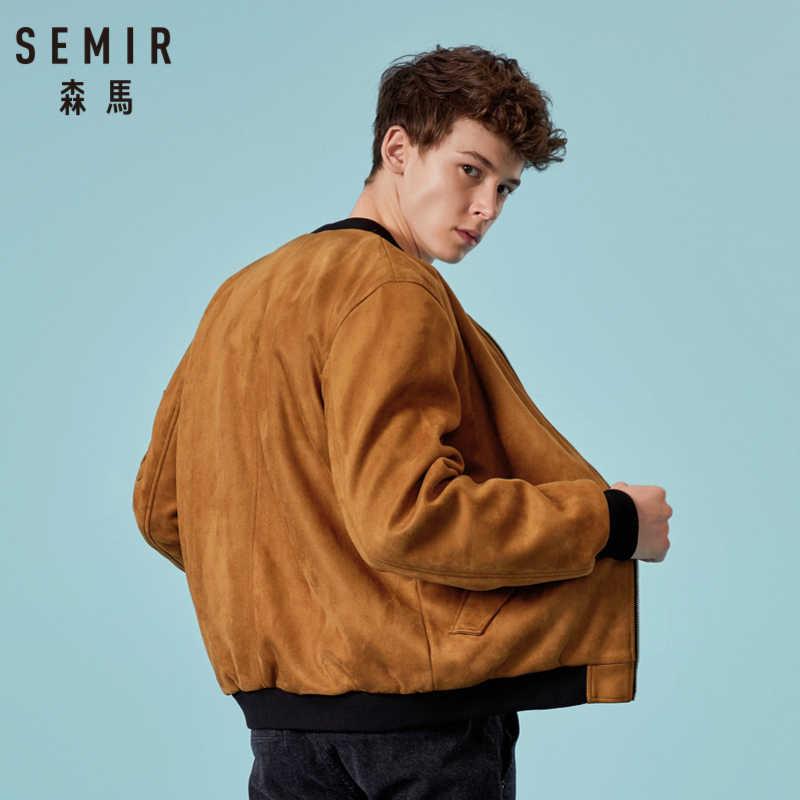 SEMIR, Мужская замшевая куртка-бомбер с полной молнией, мужская бейсбольная куртка с подкладкой, с наклонным карманом, с резинкой на манжетах и подоле для зимы