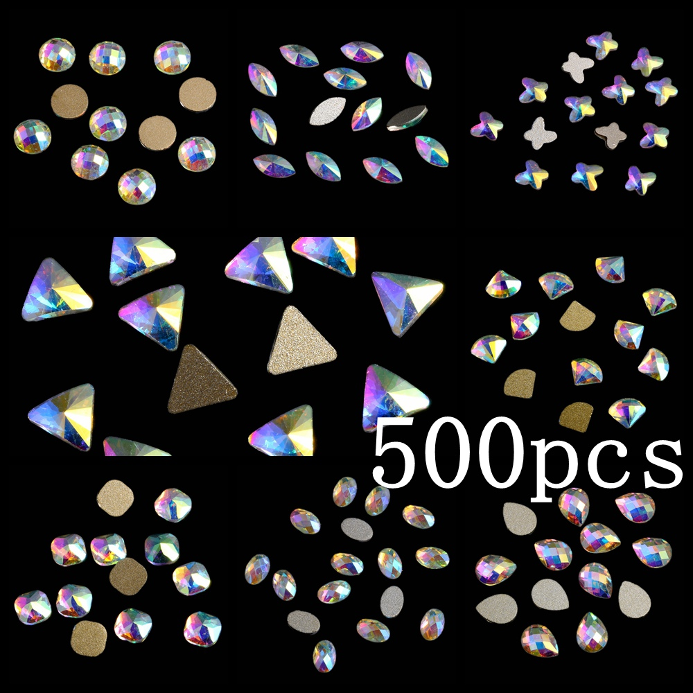 Craft Art Stone 500pcs Crystal AB Glass Rhinestone For Nail Art Decorations Flatback Nail Stickers DIY Craft Art Charms 100pcs diy nail rhinestones for nails 3d nail art crystals gems charms decorations flatback drop glass strass stone jewelry ab