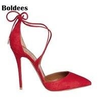 Primavera/otoño 10 cm tacones caliente novia rojo Zapatos-punta estrecha Encaje up Bombas stiletto tacón alto de la boda zapatos zapatos muje R1
