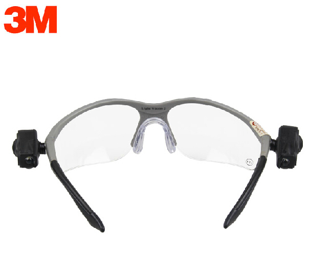 ФОТО 3M 11476 Protective LED Safety goggles Dual Bright LED Lights Transparent  lenses Anti-fog Adjustable Working Goggles G5214