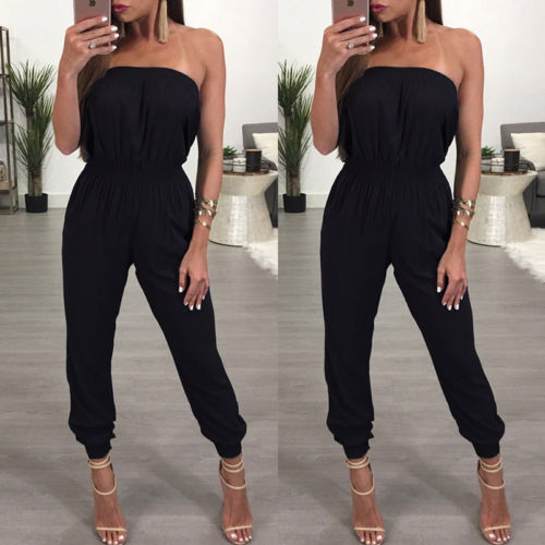 2020 Boho Womens Bandage Floral Party Playsuit Ladies Romper Long Jumpsuit Off Shoulder Loose Backless Sexy Overall Size 6 -18