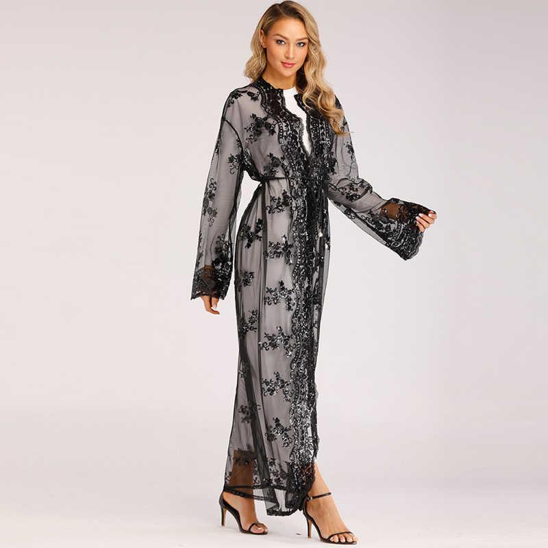 Più il Formato Lungo Kimono Mujer 2019 Sexy Dubai Abaya Musulmano Delle Donne In Chiffon Con Paillettes Maglia Cardigan Camicetta Roupas Feminina Abbigliamento
