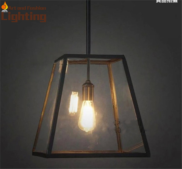 Hot Sale Antique Black Iron Pendant Light E27 Bulbs Glass Square Lampshape Lamp