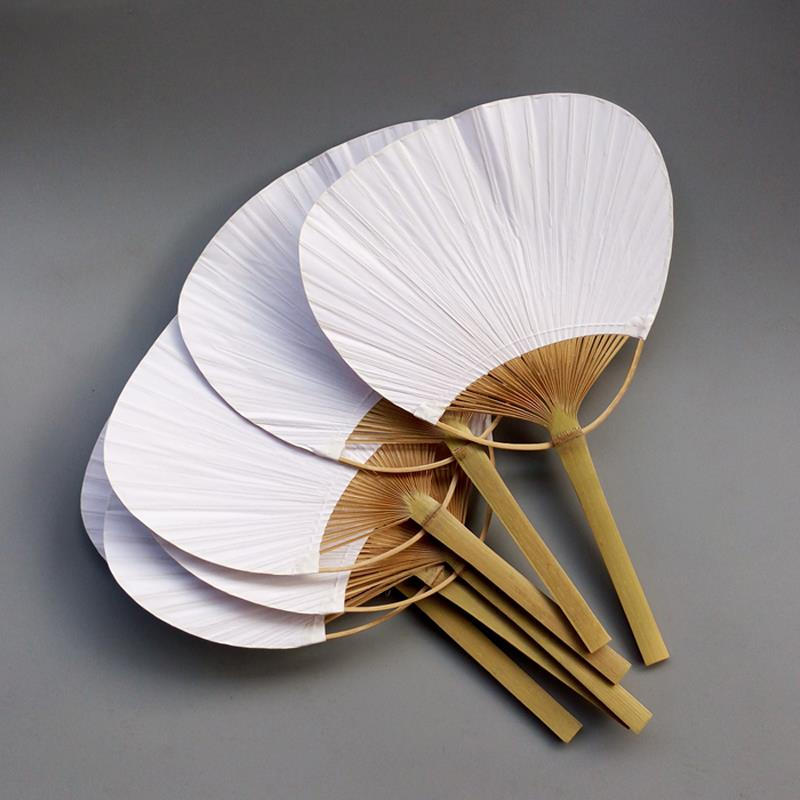 30 pcs lot wedding White Paddle Fan for wedding decoration in Decorative Fans from Home Garden