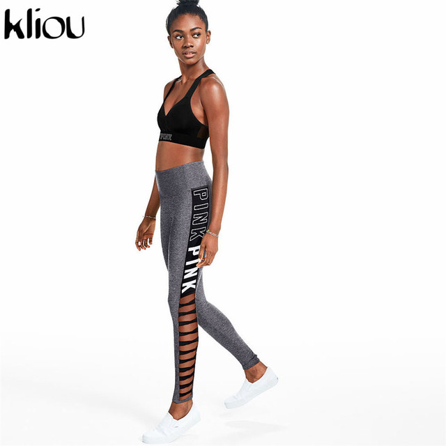 Kliou 218 New Fashion Pink Letter Print Hollow Out Leggings High Elastic Waist Female Fitness Leggings Women Sportswear Leggings