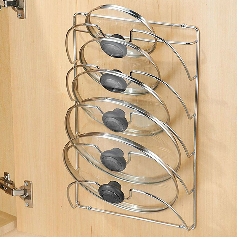 غطاء مقلاة تخزين الرف جدار جبل غطاء قدر حامل مُنظِم اكسسوارات المطبخ TN88
