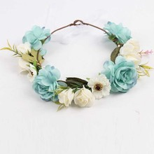 Rose Fllower Wreath Crown Headband For Baby Girl And Mom Wedding Party Beach Garlands Hairband Lady Women Weath Forehead Prop(China)