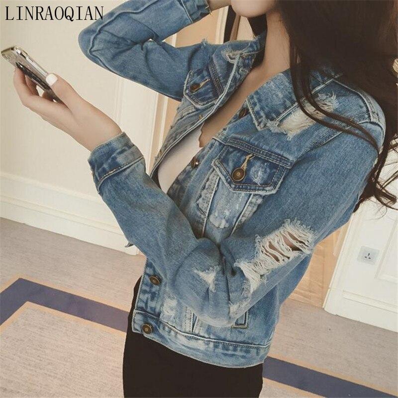 New Fashion Arrival Women Denim Jackets Vintage Casual Coat Female <font><b>Jean</b></font> Outerwear Women Basic Coats Broken Hole Jaqueta Feminina