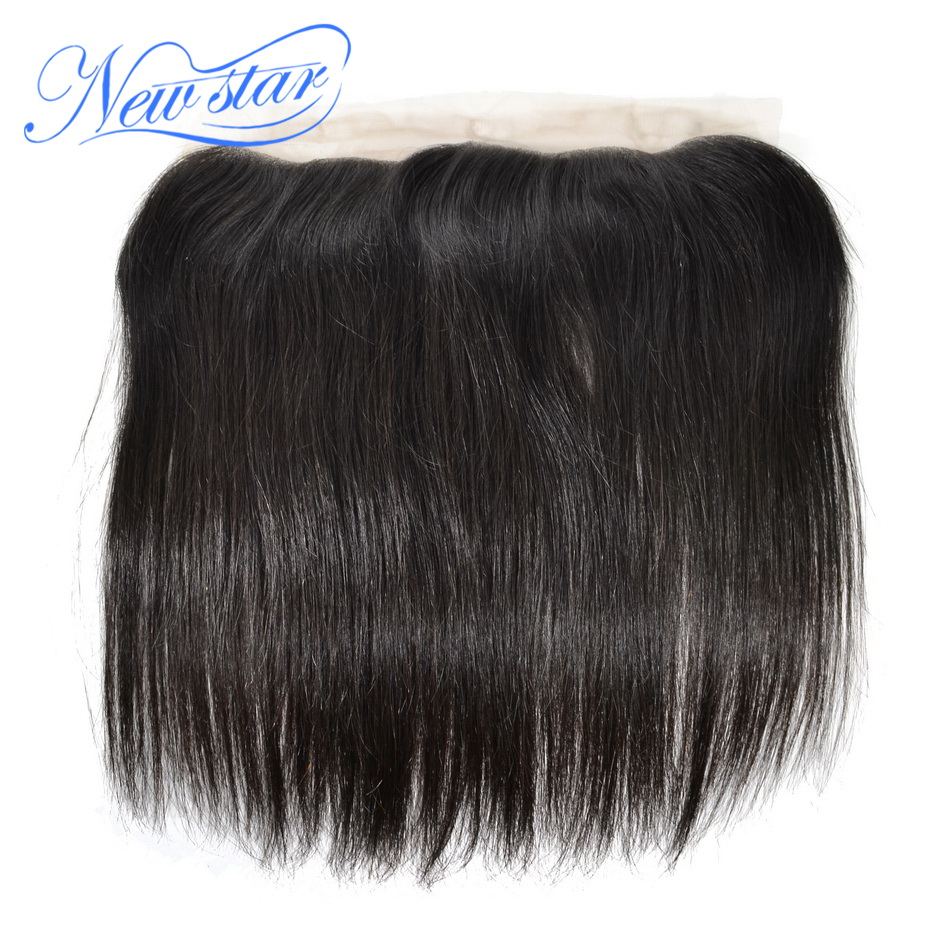 New Star Virgin Hair Lace Frontal 13x4 Brazilian Straight Closures 100 Human Hair Bleached Knots Medium