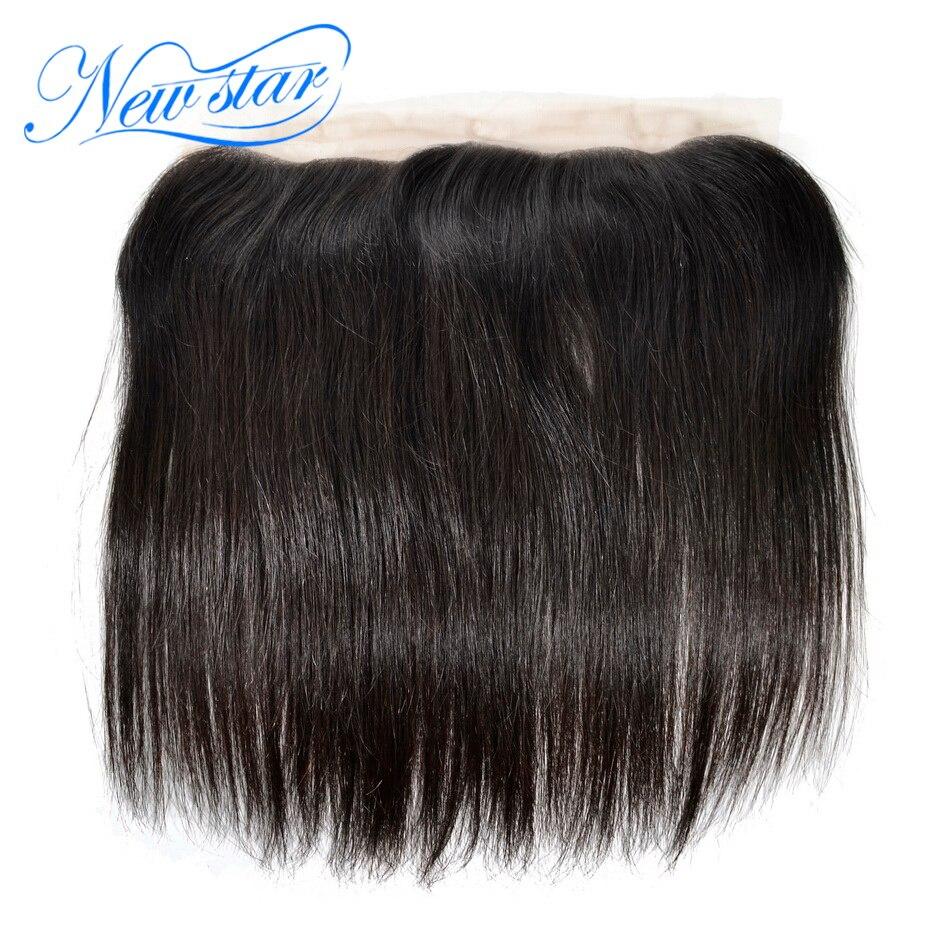 ניו סטאר בתולה שיער תחרה פרונטאלית 13x4 סגרים ישר ברזילאים 100% שיער אדם קשרים מולבנים תחרה שוויצרית חום בינוני