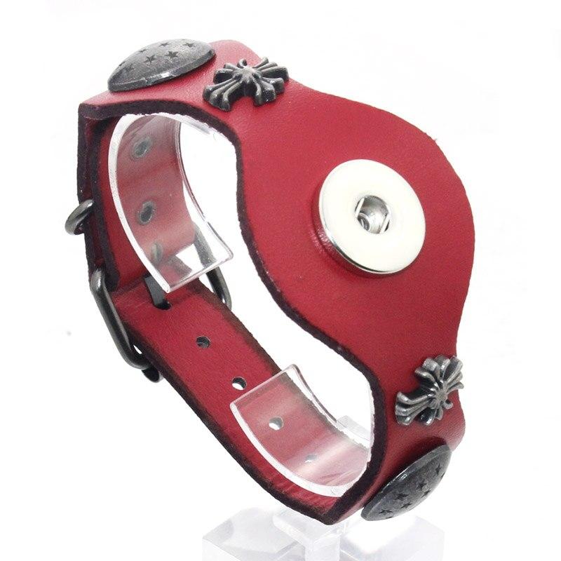 25CM Adjustable Snap Bracelet Vintage Metal Leather Bracelet Fit 18mm Snap Button Bracelet For Men Jewelry Watch Belt 9424