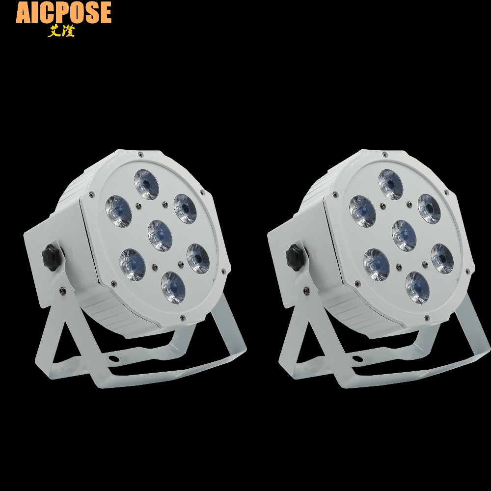 2pcs/lots 7*12w Ultra Bright Slim Flat White Led Par Light 7x12W Smooth RGBW Color Mixing DMX 4/8 Channels Stage Wash