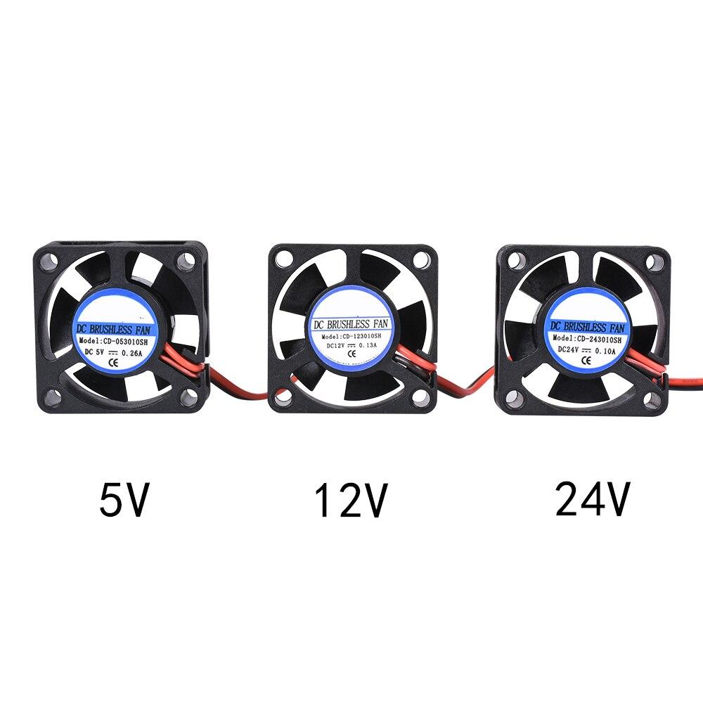 Детали для 3D-принтера DIY Reprap DC 5 в 12 В 24 В 2-контактный мини-вентилятор охлаждения без щеток 3010 вентилятор 30 мм 30x30x10 мм маленький вытяжной венти...