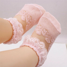 Flower Lace Girls Baby Princess Floral Socks Kid Mesh Sheer Ruffle Ankle Socks Newborn Baby Girl Solid Angel Wing Anti Slip Sock(China)