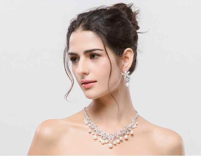 White Gold-color Women Luxury Zircon Imitation Pearl Bridal Cubic Zirconia Necklaces Earring Jewelry Set for Wedding