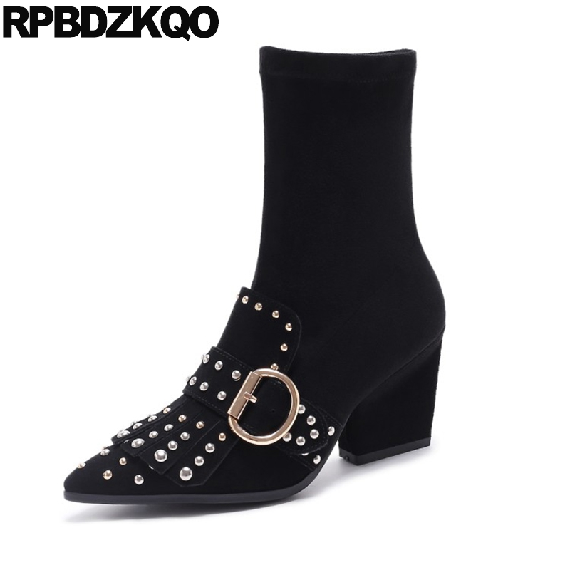Luxury Brand Shoes Women Slip On Stud Metal Fall Stretch Fringe Suede Pointy Chunky Ankle High Heel Boots Rivet Black Sheepskin stud biker genuine leather fringe ankle rivet women motorcycle punk rock boots belts fall chunky shoes black high heel big brand