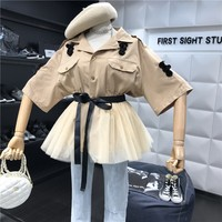 2019 Women Two Piece Outfits Sequined Embroidery Half Sleeve Khaki Jacket Blouse + Lace up Patchwork Tulle Mesh Skirt Set