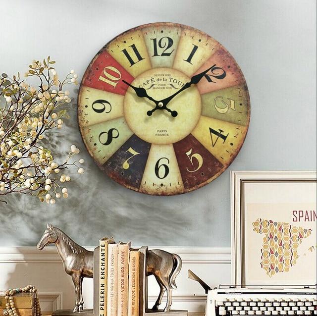 Versandkostenfrei Holz Wanduhren Frankreich Paris Antik Quarz Mdf Holz Uhr  10u0027inch Hauptdekoration Große Wanduhr