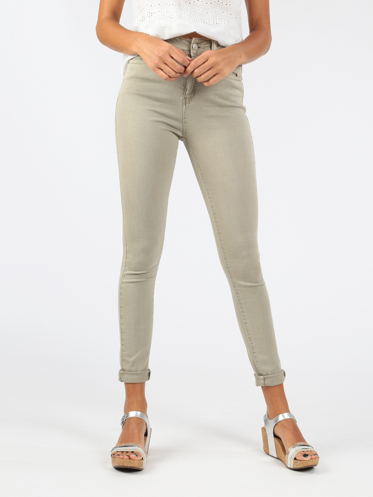 Beige Cotton Pants High-waist
