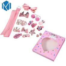 M MISM 1 Set=18Pcs Cute Children Hairpins Princess Girls Elasic Hair Bands Star Bowknot Hairclips Party Accessories