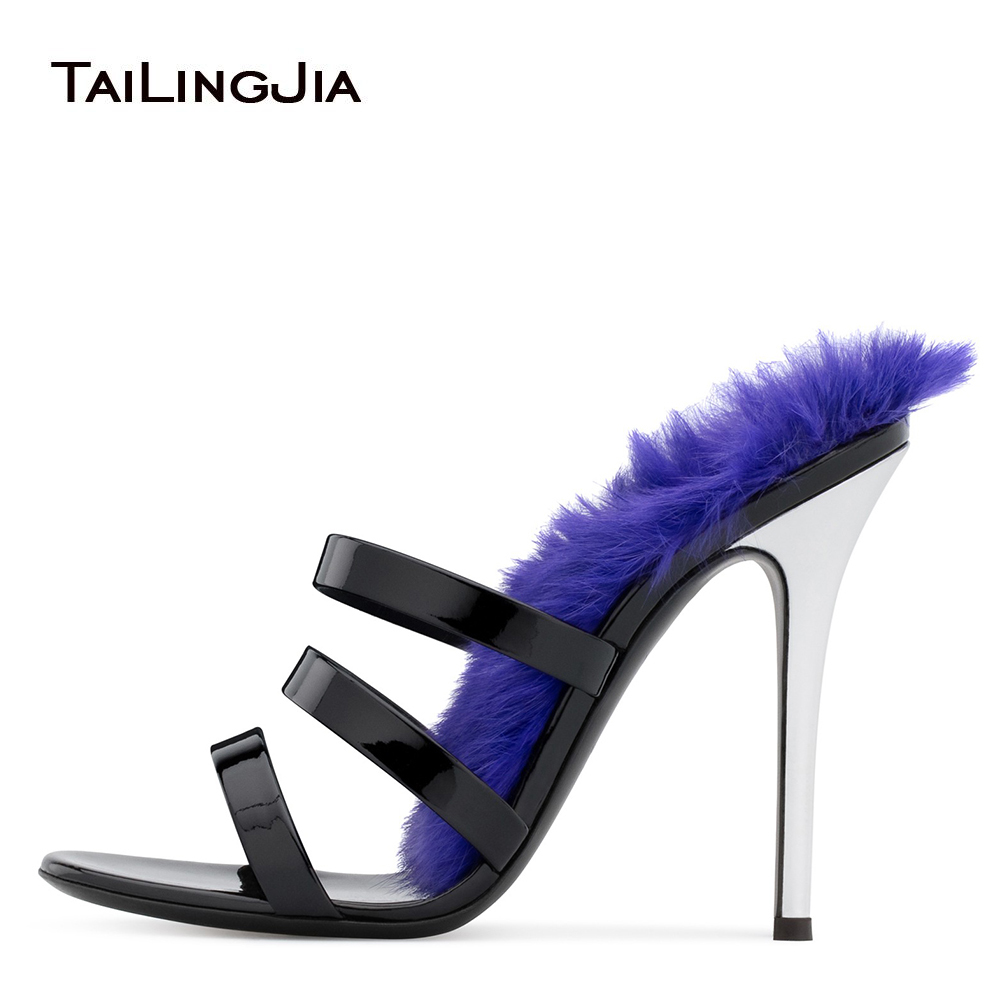 купить Open Toe Women High Heel Fur Mules Gorgeous Heeled Sandals Black Patent Leather Party Dress Heels Ladies Summer Strappy Shoes по цене 3690.22 рублей