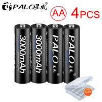 PALO 4 unids/lote AA Batería recargable AA NI-MH 3000mAh 1,2 V Ni-MH 2A baterias recargables Batería para juguetes de cámara