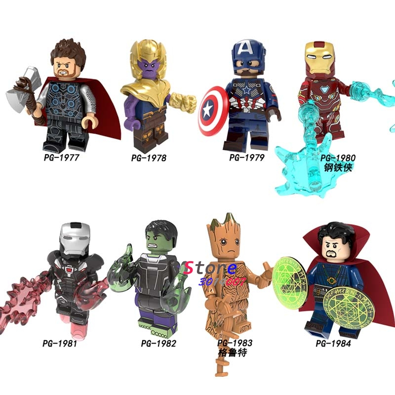 Avengers Endgame 4 Minifigures Thanos Thor Iron Man Cap Marvel Black Widow