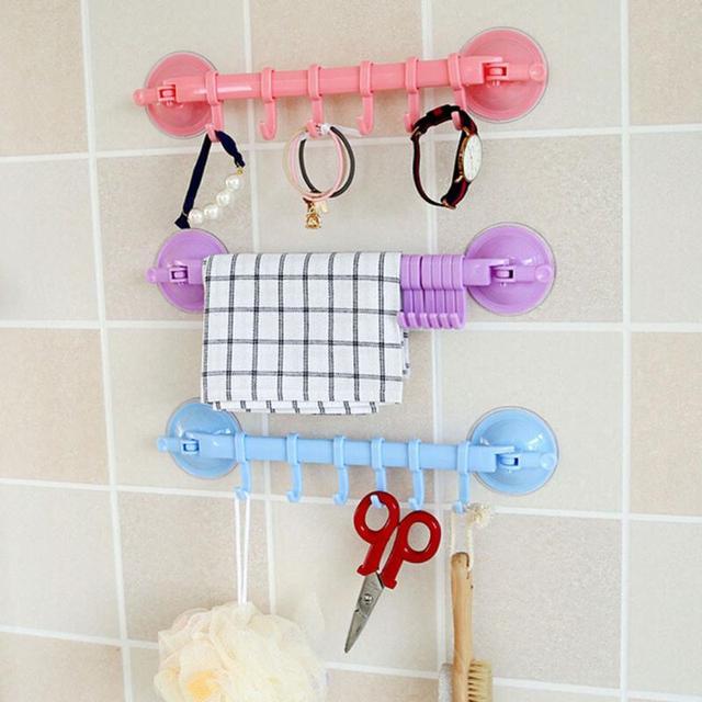 Ventouse en plastique   Cintre de cuisine, organisateur de serviette de bain, vêtements de salle de bain, crochet outil de cuisine, étagère de rangement sous vide, ongles gratuits