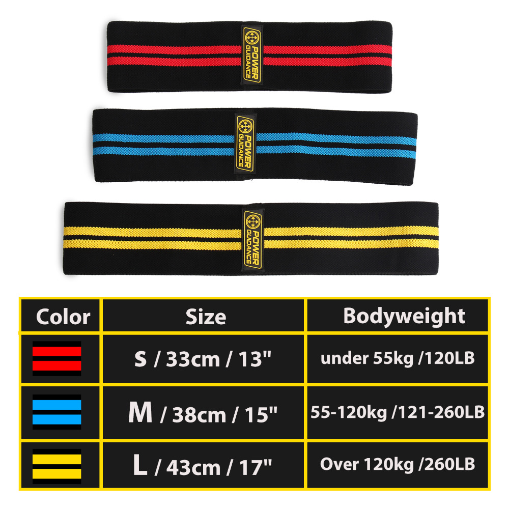 POWER GUIDANCE Cotton Hip  Resistance Bands Set Booty Exercise Elastic Bands For Fitness Workout Hips & Glutes 1