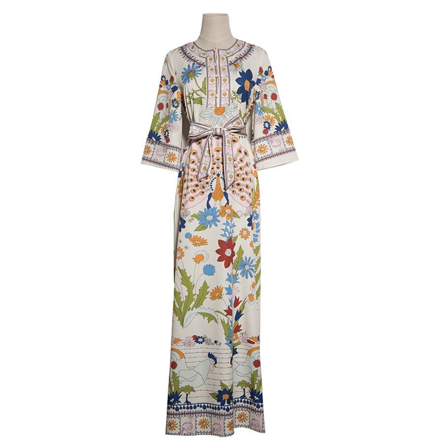 D'été De Split Mode Aeleseen Manches Imprimé Robe 4 Ceintures 2018 Élégant 3 Robes Prairie Floral Longue Chic 0wqxqHYX