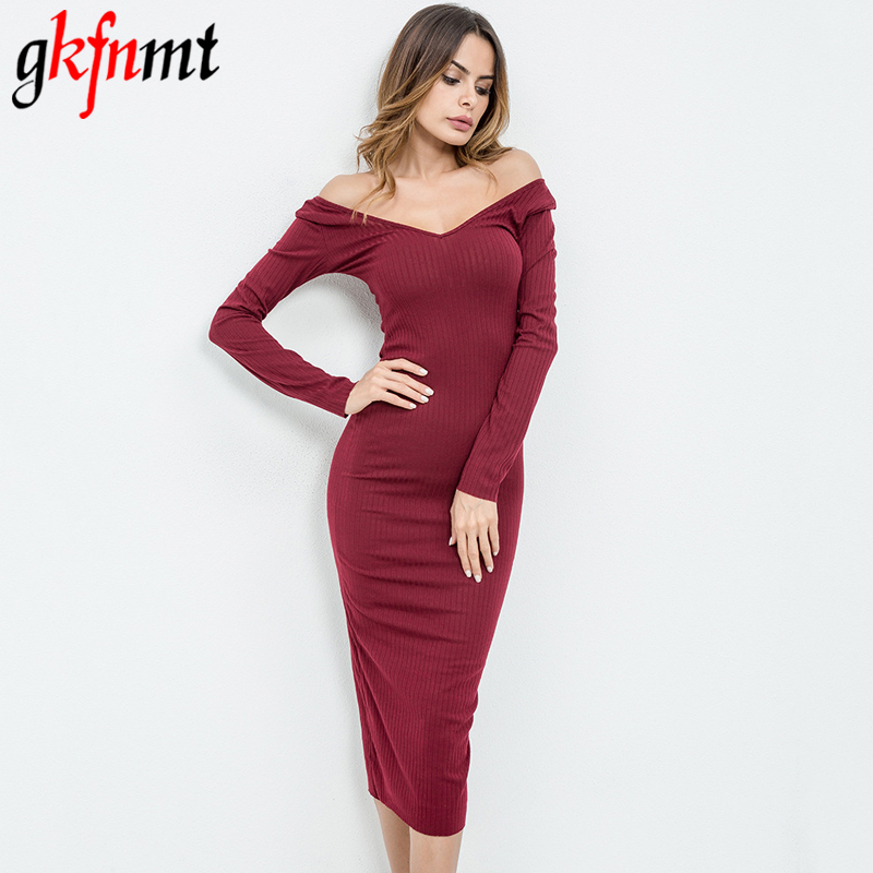 Long Sleeve Off Shoulder V-Neck Sexy Club Women Dress Fashion Slim Bodycon Knitted Sweater Knee Length Party Night Dresses 2018 forefair fashion slim knitted party dresses women clothing 2018 spring long sleeve sexy criss cross v neck bodycon dress vestido