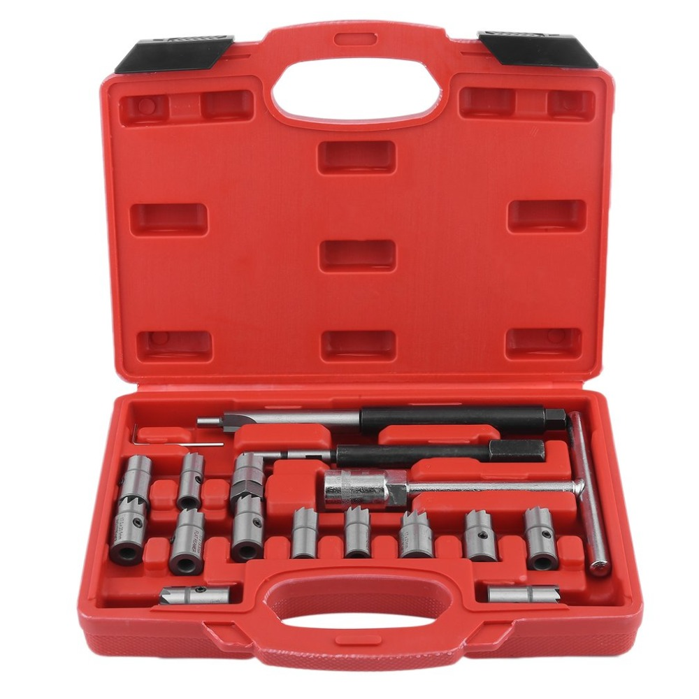 New Style 17PCS Fuel Engine Injector Seat Cutter Set Carbon Decarbonise Cleaning Injectors Changing Auto Car Repair Tool Garage professional common rail injector puller set diesel engine garage tool set t10055 tdi