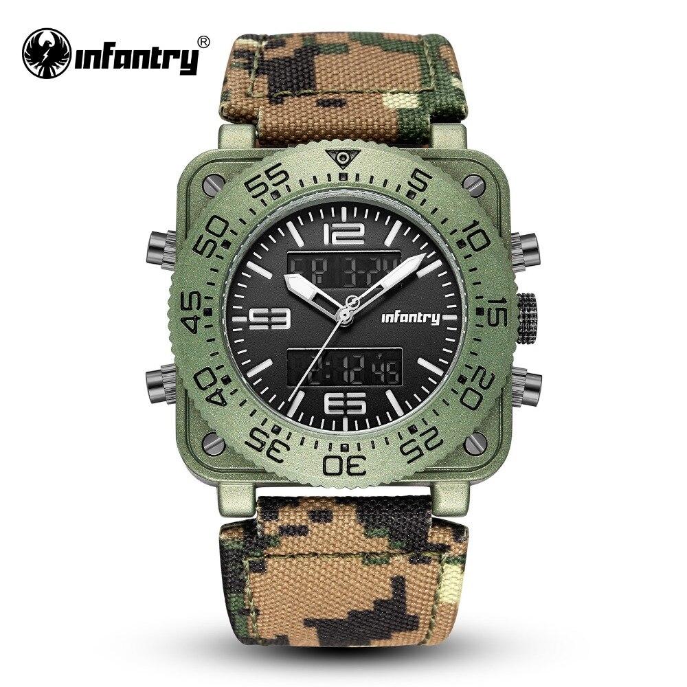 Military Digital Quartz Wristwatch   Big Square Army Leather