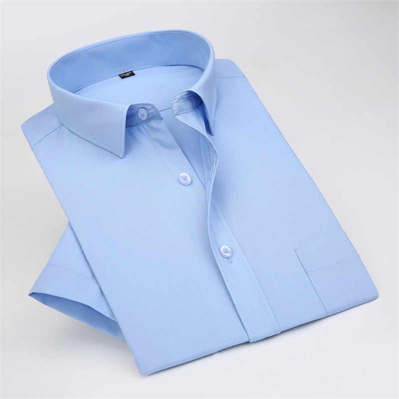 2016 lato mężczyźni z krótkim rękawem koszula biznesowa męskie profesjonalne pracy wysokiej jakości jednolity kolor luźna sukienka koszule XS-5XL M073