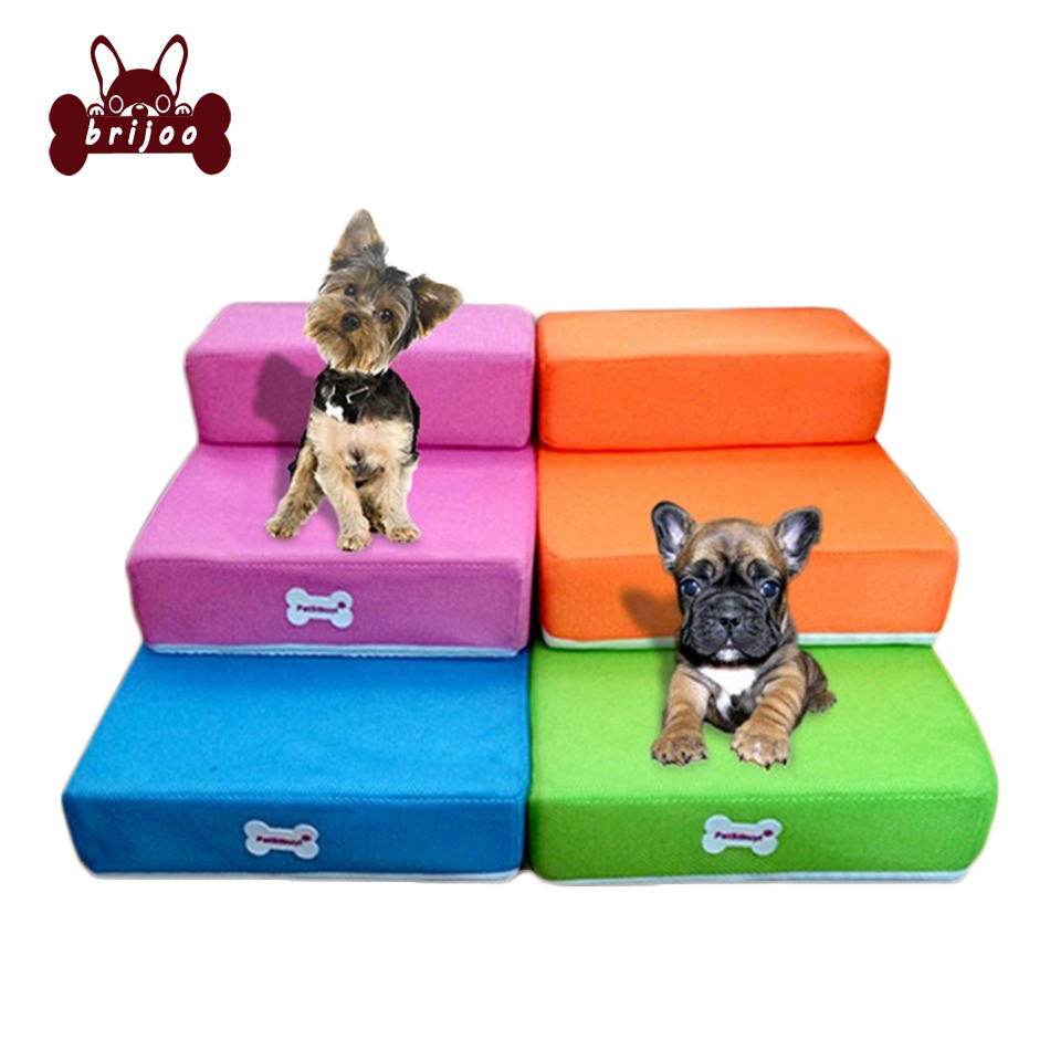 Pet Mesh Stairs Foldable 2 Steps Jump Stairs for Dogs Fold Dogs Cats Cushion Bed Breathable
