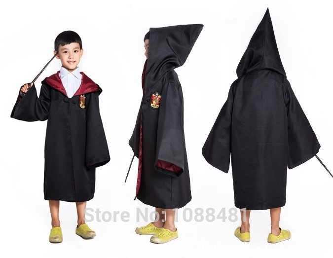 Harri Potter Robe Cape Gryffindor/Hufflepuff/Ravenclaw/Slytherin Cosplay Costumes Robe Cloak  Halloween Children's Day Gift