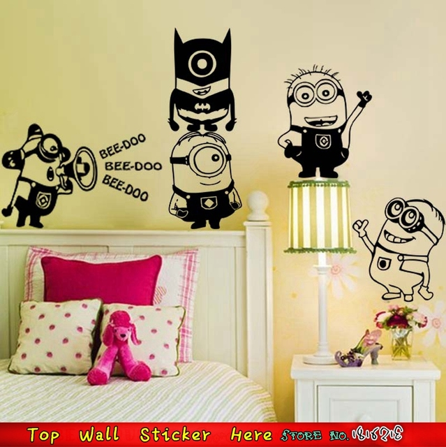 Waterproof Cute Minions Wall Sticker For Kids Children Bedroom ...