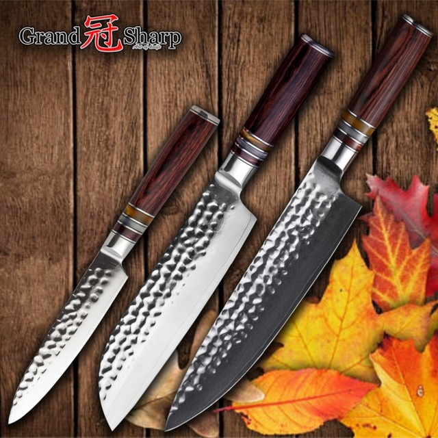 Kitchen Knife Set 3 PCS Damascus Kitchen Knives vg10 Japanese Damascus Steel Chef's Santoku Utility Japanese Knife Cookware NEW