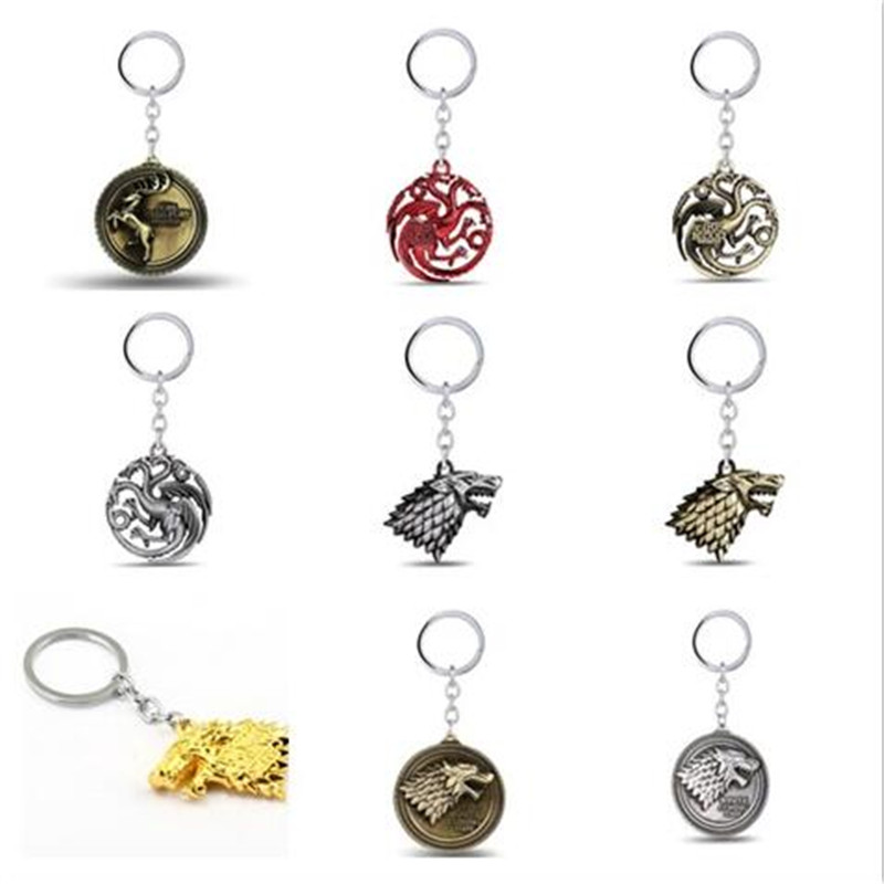 Game of thrones Keychain House Stark Key Chain Song Of Ice And Fire Key Rings Holder Souvenir Chaveiro Men Jewelry Wholesale