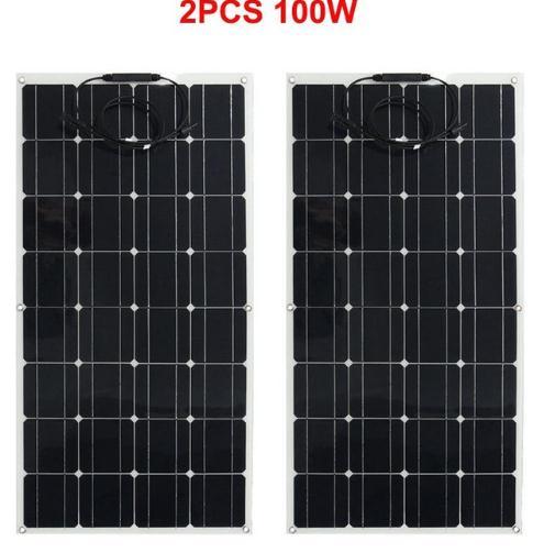 200w Solar Panel Monocrystalline Module Garden RV Roof Light Car Charger 2x100w