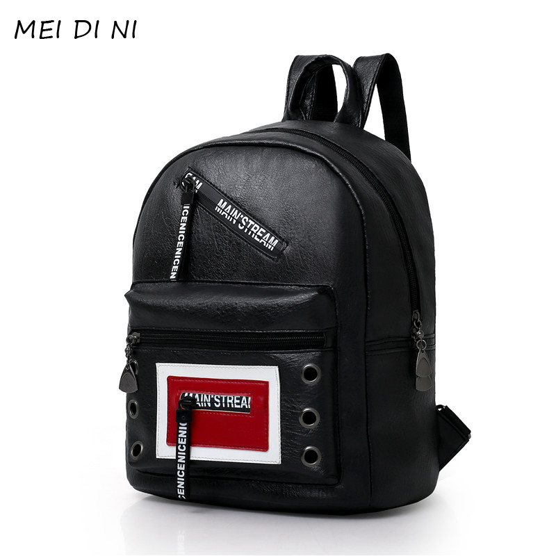 MEI DI NI High Quality PU Leather Women Backpack Fashion Solid School Bags For Teenager Girls Large Capacity Casual Women BAG high quality pu leather women backpack fashion solid school bags for teenager girls large capacity casual women black backpack l