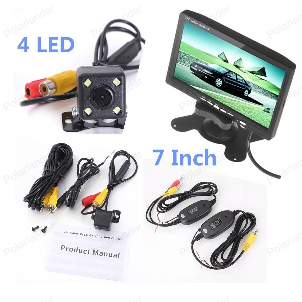 4led rearviwe camera 7 Inch TFT LCD Color Display Screen Car Rear View Monitor Parking HDMI wireless receiver transmitter kit шапка bergans bergans bris синий os